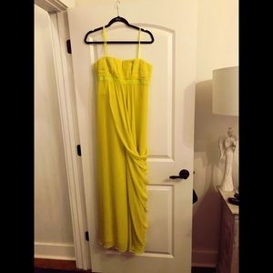 Bcbg strapless dress/ yellow-green